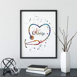 Stethoscope Art School Nurse Office Decor Watercolor Print - PrintsFinds