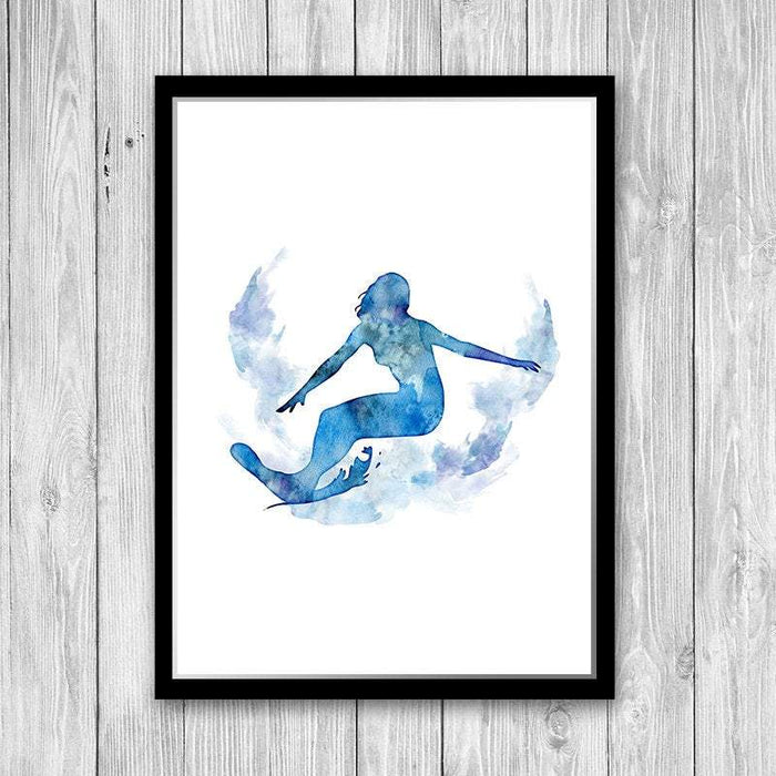 Surfer Girl blue watercolor art poster