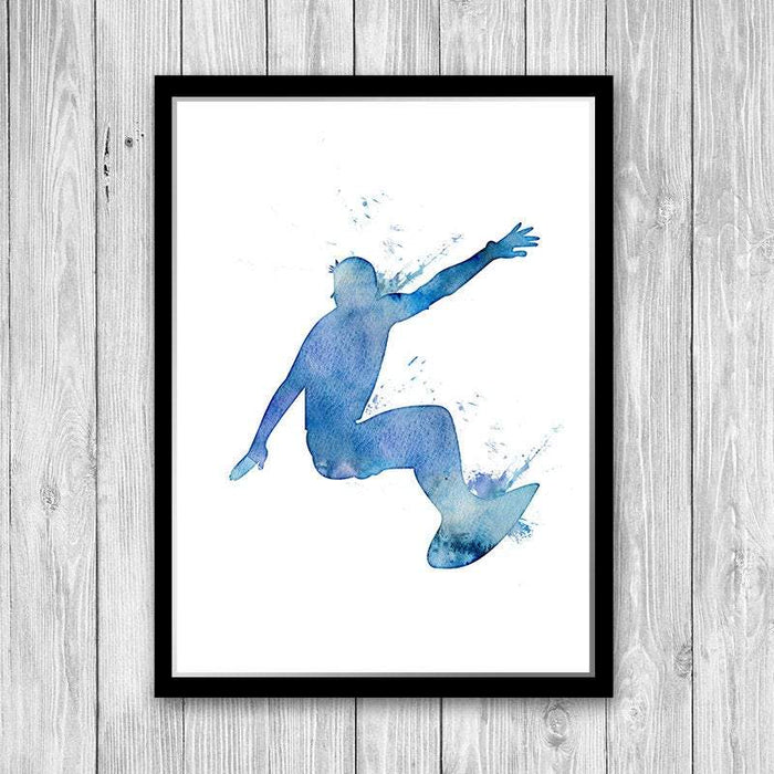 Surfer Print Blue Watercolor Art Print for Boy Bedroom Decor