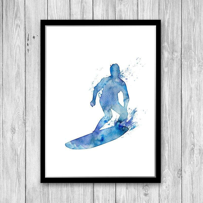 Surfing wall art, Blue watercolor print, Surfer gift