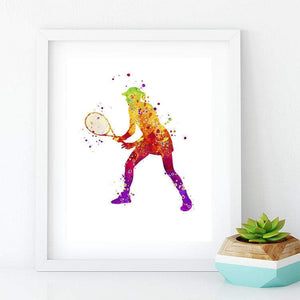 Tennis Girl Set of 3 Watercolor Art Prints - PrintsFinds