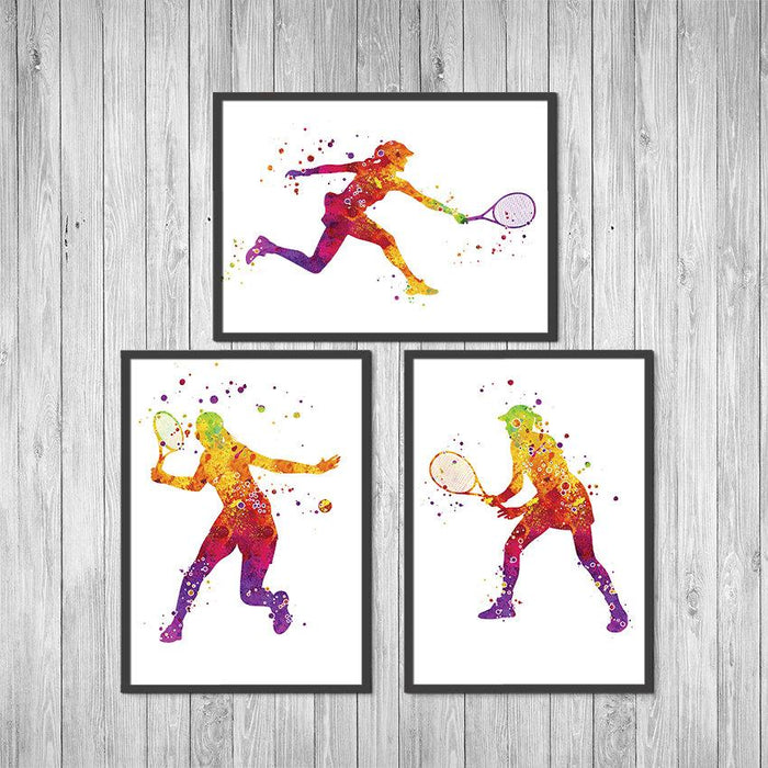 Tennis Girl Set of 3 Watercolor Art Prints