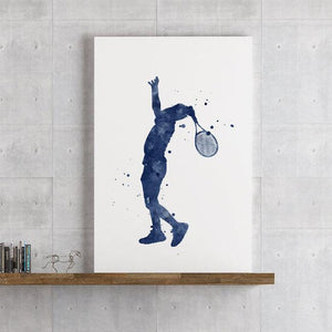 Tennis Print Blue watercolor Sports poster Decor for boys room - PrintsFinds