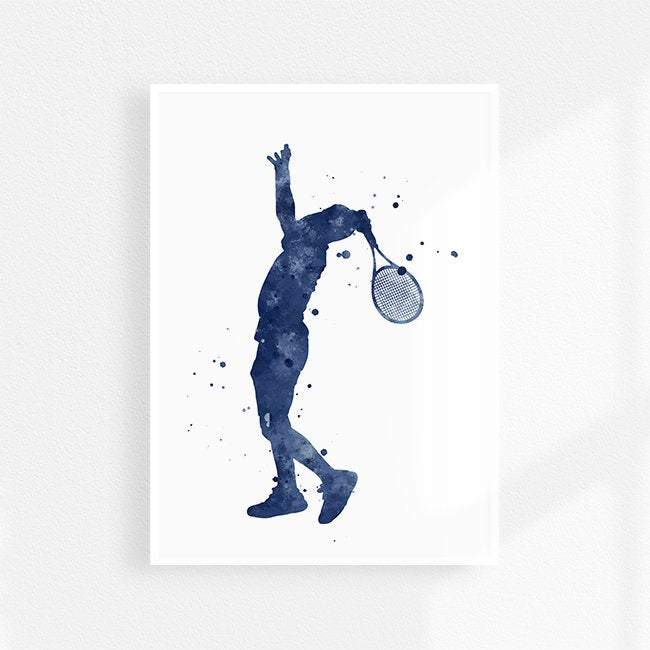 Tennis Print Blue watercolor Sports poster Decor for boys room