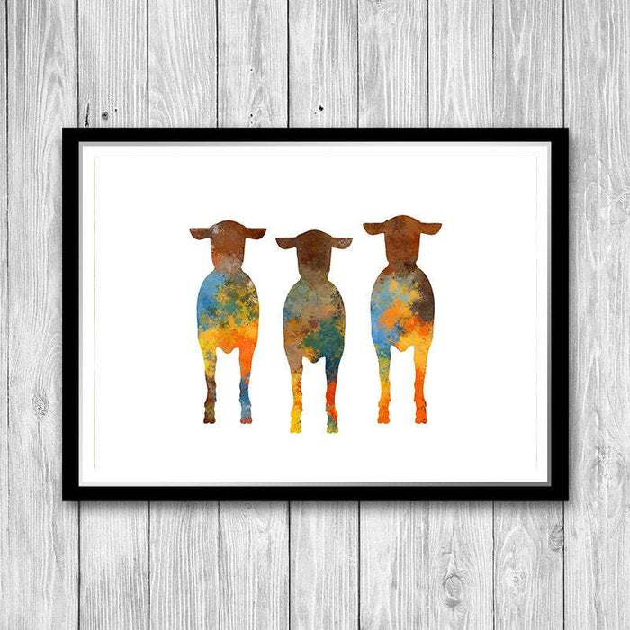 Three Sheep Watercolor Print Farmhouse Wall Decor, Animal Art