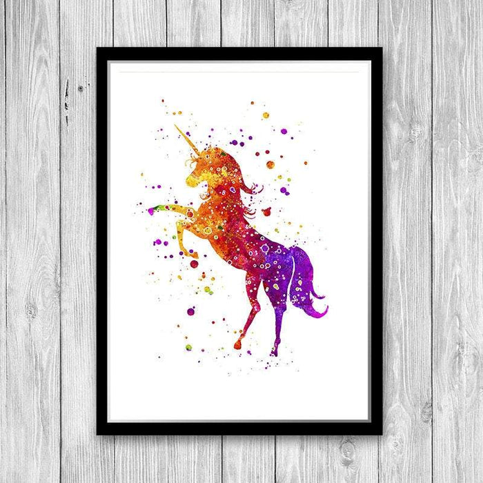 Unicorn watercolor print, Animal art