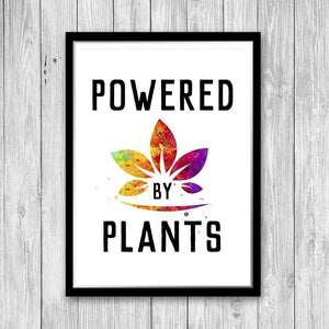 Vegan Kitchen Wall Art - Powered by Plans Watercolor Print - PrintsFinds