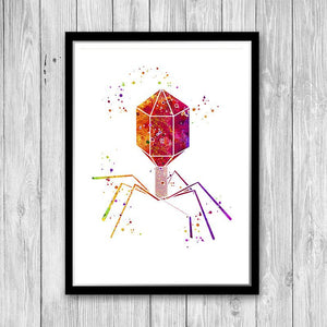 Virus of the Bacteriophage Type Watercolor Print - PrintsFinds