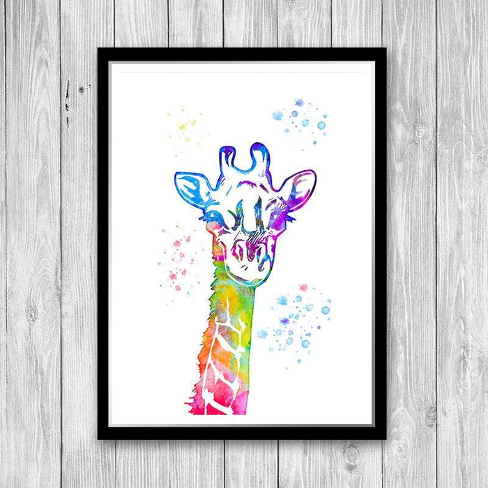 Watercolor Art Print Giraffe Poster for nursery decor