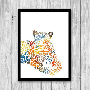 Watercolor Leopard Art Print Jungle Animal Art - PrintsFinds