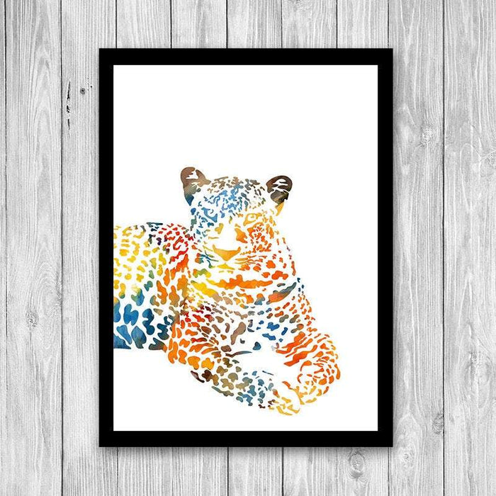 Watercolor Leopard Art Print Jungle Animal Art