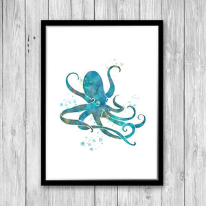 Watercolor Octopus Print, Turquoise wall decor - PrintsFinds