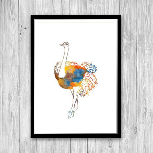 Watercolor Ostrich Print Animal Art for Kids Room - PrintsFinds