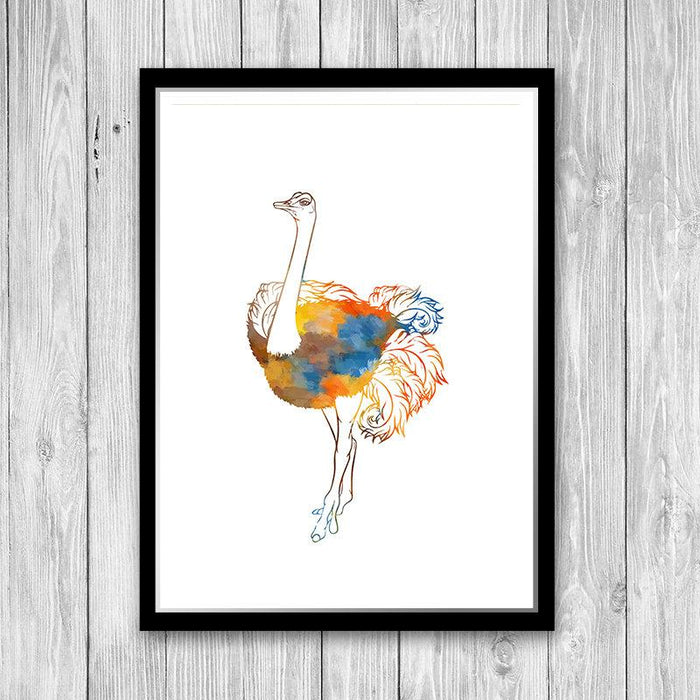 Watercolor Ostrich Print Animal Art for Kids Room