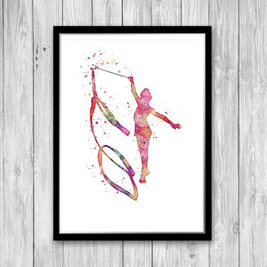 Watercolor Rhythmic Gymnastics Poster for kids room - PrintsFinds