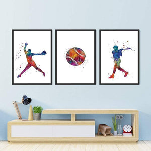 Watercolor Softball female player Prints set of 3 - PrintsFinds
