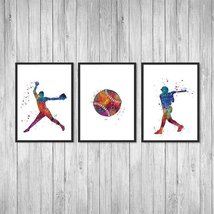Watercolor Softball female player Prints set of 3