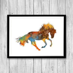 Wild Horse Watercolor Art Print Home Decor - PrintsFinds