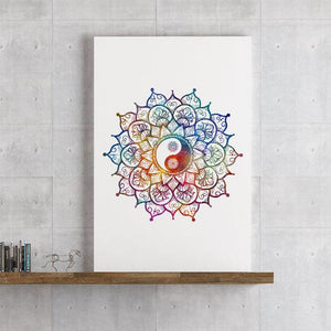 Yin Yang Mandala Art Watercolor Print - PrintsFinds