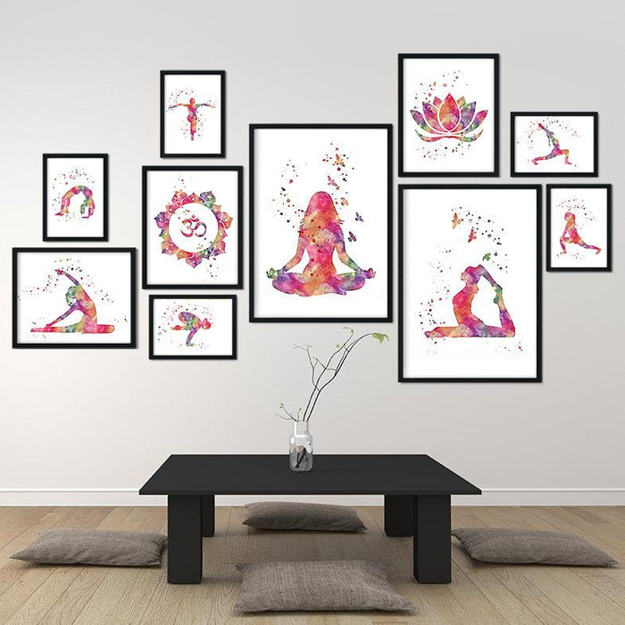 Yoga Set of 10 Watercolor Art Prints