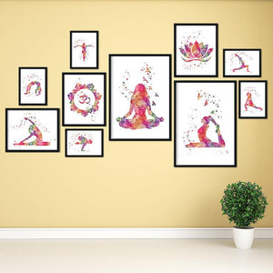 Yoga Set of 10 Watercolor Art Prints - PrintsFinds