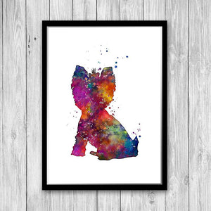 Yorkie Print Yorkshire Terrier Watercolor wall art for Kids Room Decor - PrintsFinds