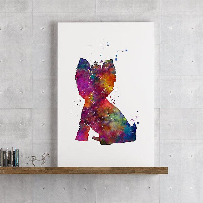 Yorkie Print Yorkshire Terrier Watercolor wall art for Kids Room Decor
