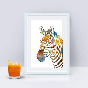 Zebra Painting Watercolor Print Animal Art Poster - PrintsFinds