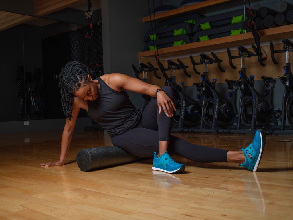 Stretching after an Indoor Cycling class with Shimano IC3 Shoes