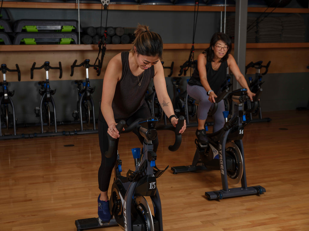 Getting a work out in at the local indoor cycling studio