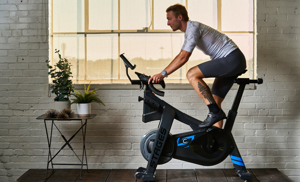 Morning sunrise indoor cycling workout
