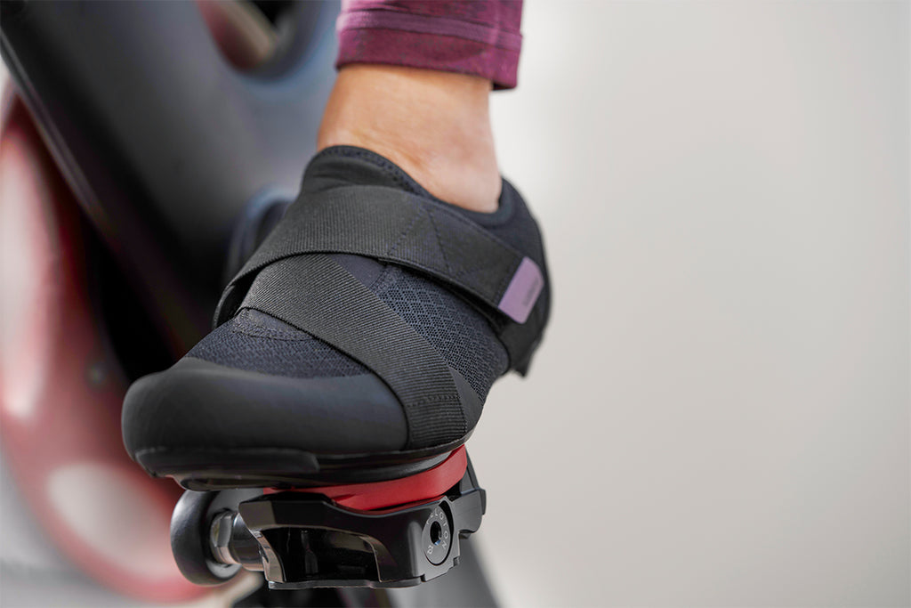 Shimano's New IC1 Indoor Cycling shoes using the Look Delta Cleat on a Peloton bike