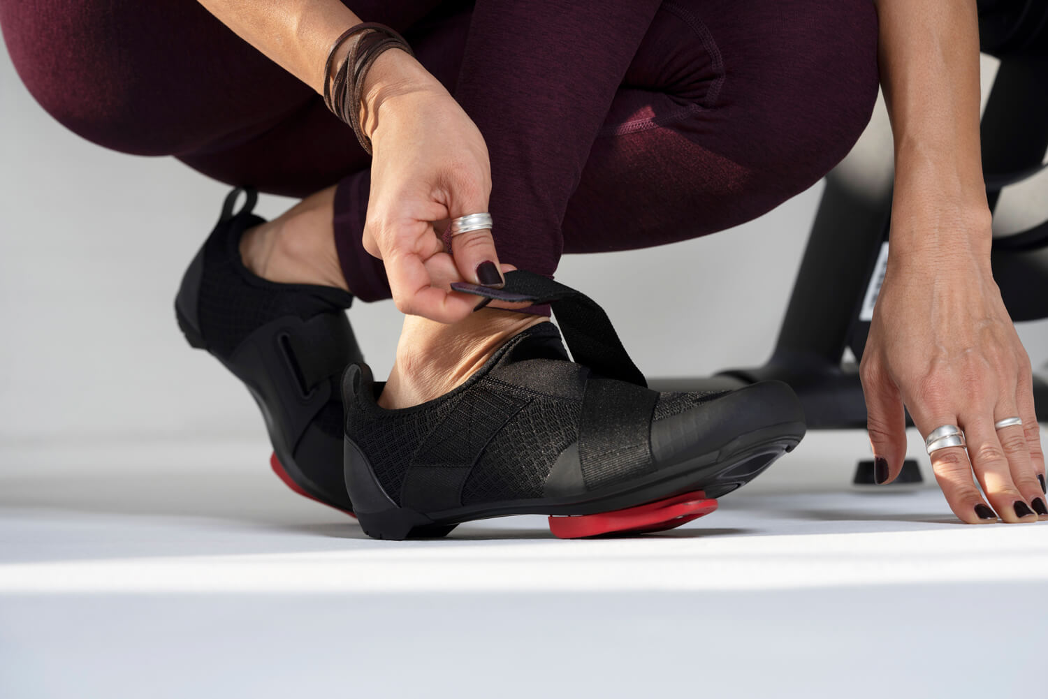 Shimano's IC1 Indoor Cycling shoe with Look Delta Cleats on a Peloton bike