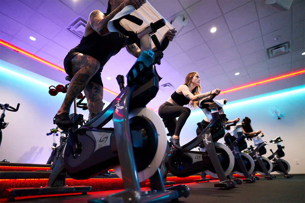 Wearing Shimano Indoor Cycling shoes during an indoor cycling class