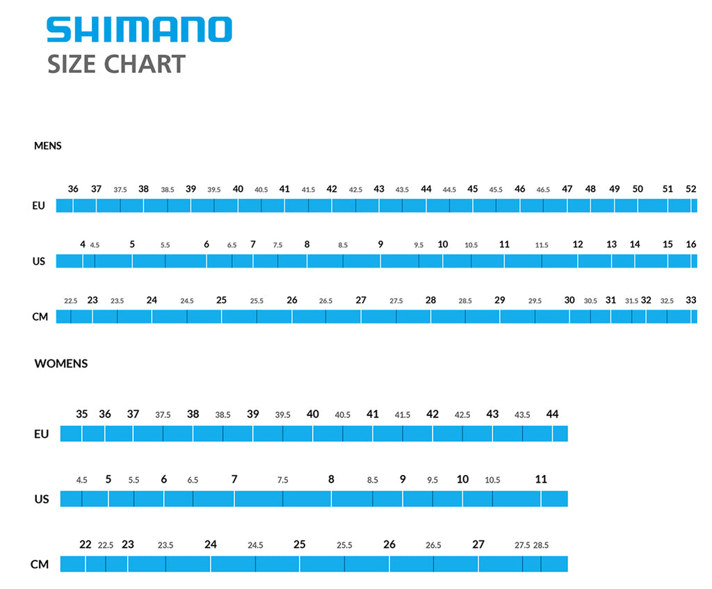 Shimano footwear sizing chart for indoor cycling shoes