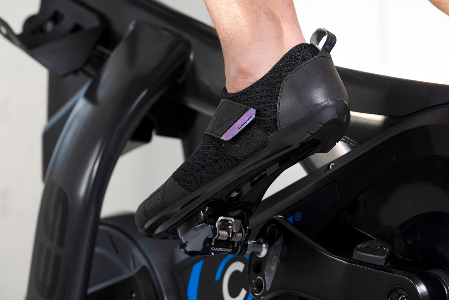 Shimano's IC1 Indoor Cycling shoe on a Stages stationary bike