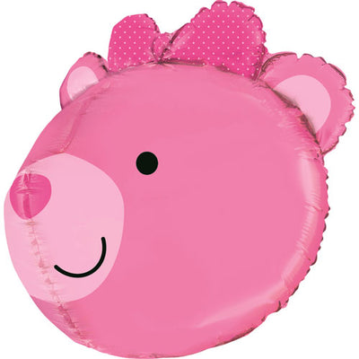 Baby Girl Bear Head Baby Shower Pink Foil Balloon