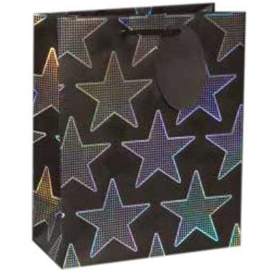 Holographic silver star gift bag