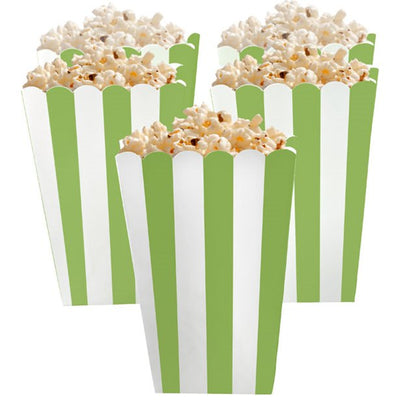 Green and White Striped Popcorn Boxes