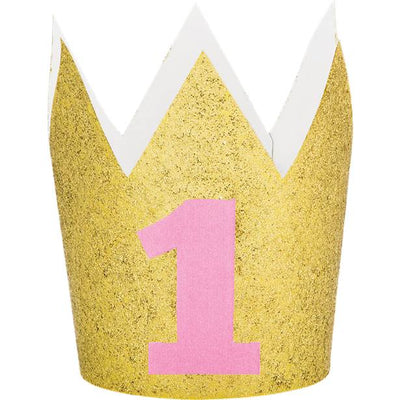 1st Birthday Gold Glitter Mini Crown