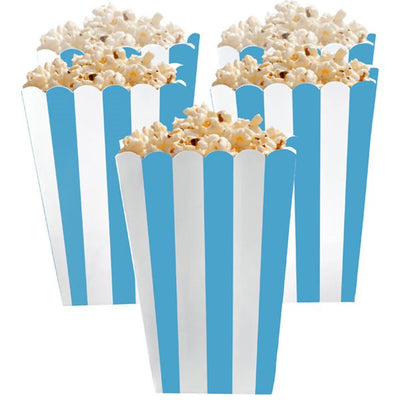 Blue and White Striped Popcorn Boxes