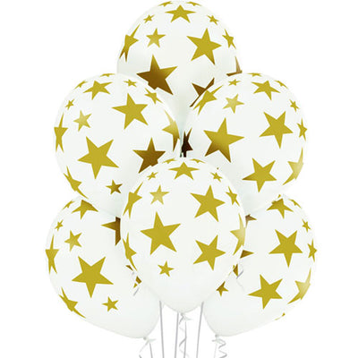 White and Gold Star latex balloons