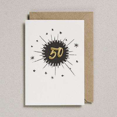 Embroidered Black Birthday Card 50