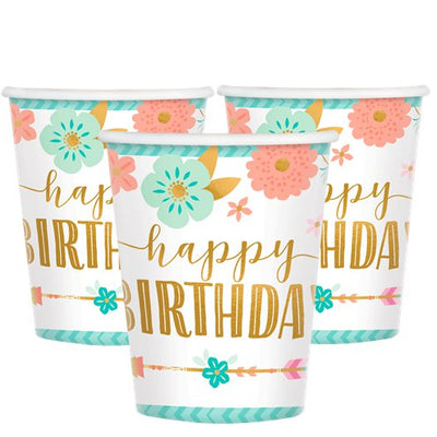 Floral Happy Birthday Paper Cups