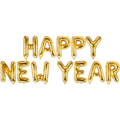 Happy New Year Gold Foil Balloon Banner