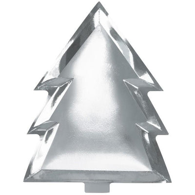 Ginger Ray Silver Christmas Tree Plates