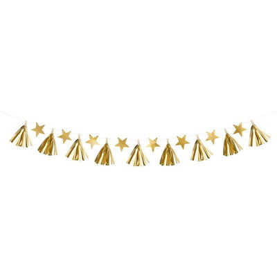 Gold Stars Tassel Garland For Christmas