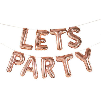 Rose Gold Lets Party Balloon Banner