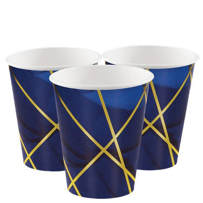 Navy and Gold Foil Paper Cups