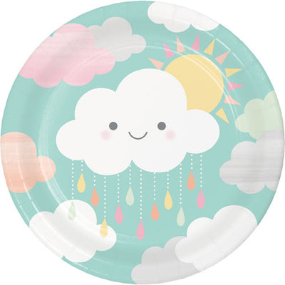 Sunshine and clouds baby shower paper plates